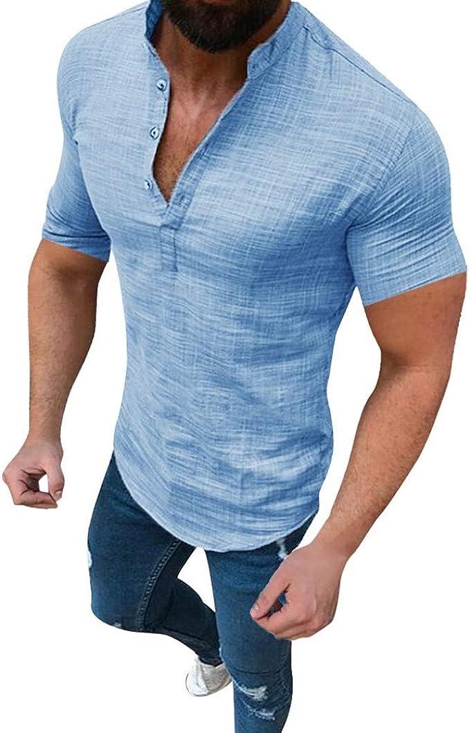 Camisas Hombre Manga Corta Camisa de Manga Corta de Lino para Hombre Camisa Hombre Slim fit Blusas Hombre Manga Corta Camisas Hawaianas Hombre Camisetas Fitness Hombre: Amazon.es: Ropa y accesorios