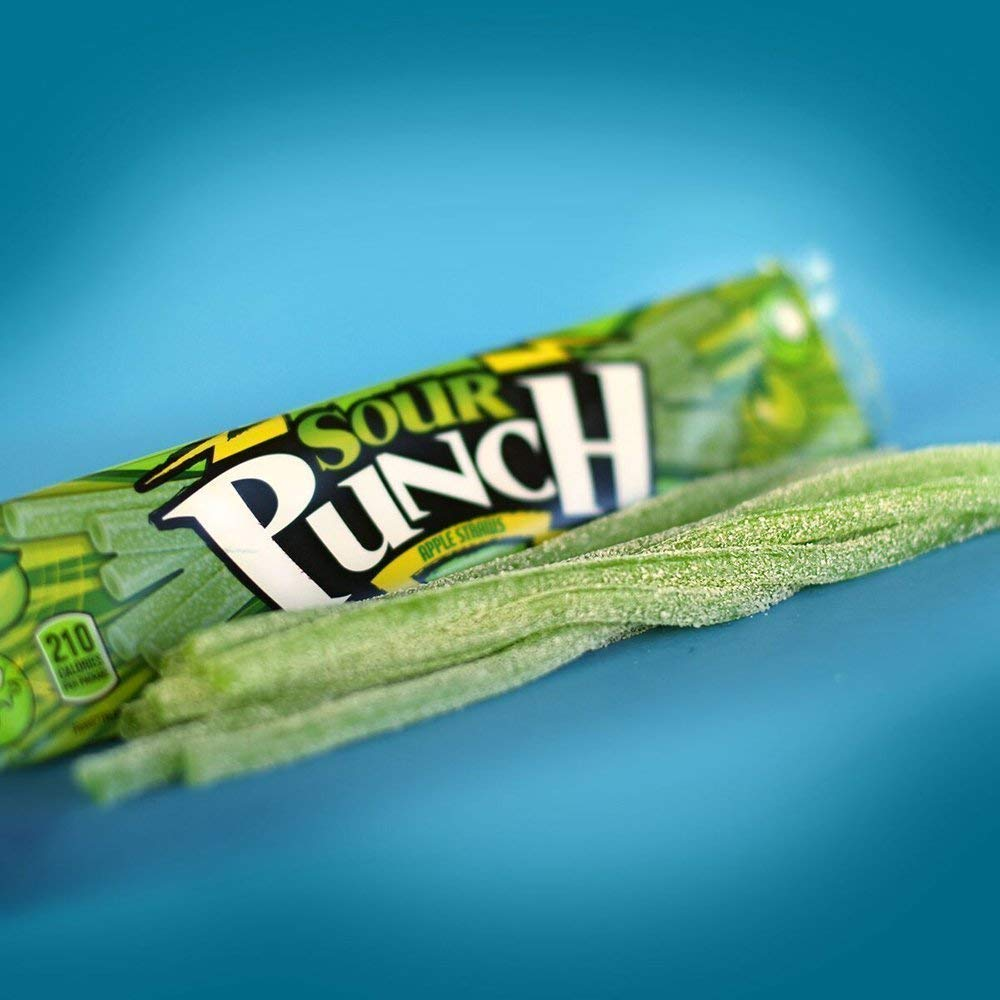 Sour Punch Straws, Sweet & Sour Apple Fruit Flavor, Soft Chewy Candy, 2oz Tray (24 Pack) by Sour Punch (Image #5)