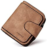 RFID Blocking Mattee Leather Wallet for Women Clutch Purse Bifold Small Compact Designer Ladies Multi Credit Card Holder Organizer with Coin Zipper Pocket brown