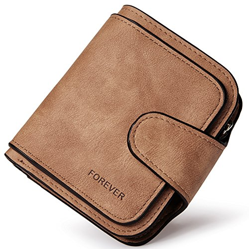 Wallet for Women PU Leather Clutch Purse Bifold Small Compact Designer Ladies Multi Credit Card Holder Organizer with Coin Zipper Pocket Brown