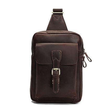 f568e183707e Ybriefbag Outdoor Sports Leather Men s Bag Chest Bag Casual Slung Shoulder  Bag Messenger Bag Casual Daypack
