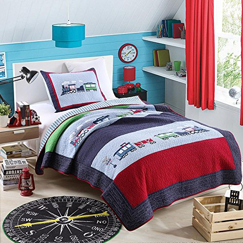 Train Pattern (NEWLAKE 100% Cotton Plaid Quilt Comforter Children's Bedspread Set, Train Patchwork Pattern, Twin size)