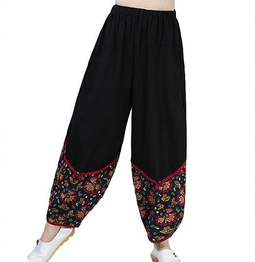vente la moins chère sans précédent complet dans les spécifications Pantalon Sarouel Femme Elégante Vintage Ethnique-Style Fleur ...