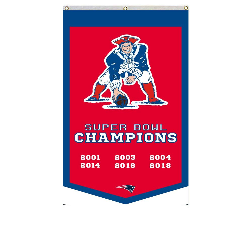 2Love New England Patriots 6-Time Super Bowl Champions Banner Flag 30x50Inch Man Cave Red 1