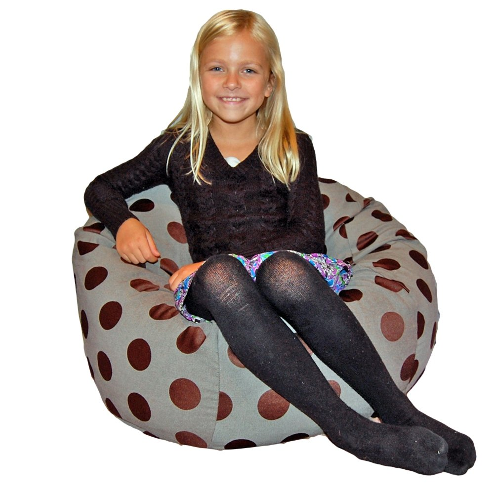 Ahh! Products Delightful Dots Washable Kid Bean Bag Chair, Gray