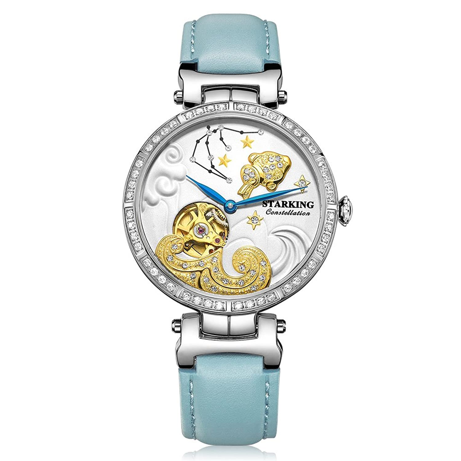 Starking Damen al0201sl71 Aquarius Skelett Automatische Kleid Armbanduhr Romantische Sternbilder Collection