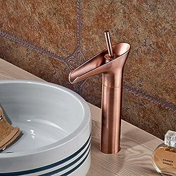 rozin antique copper tall bathroom vessel sink faucet single lever countertop mixer tap