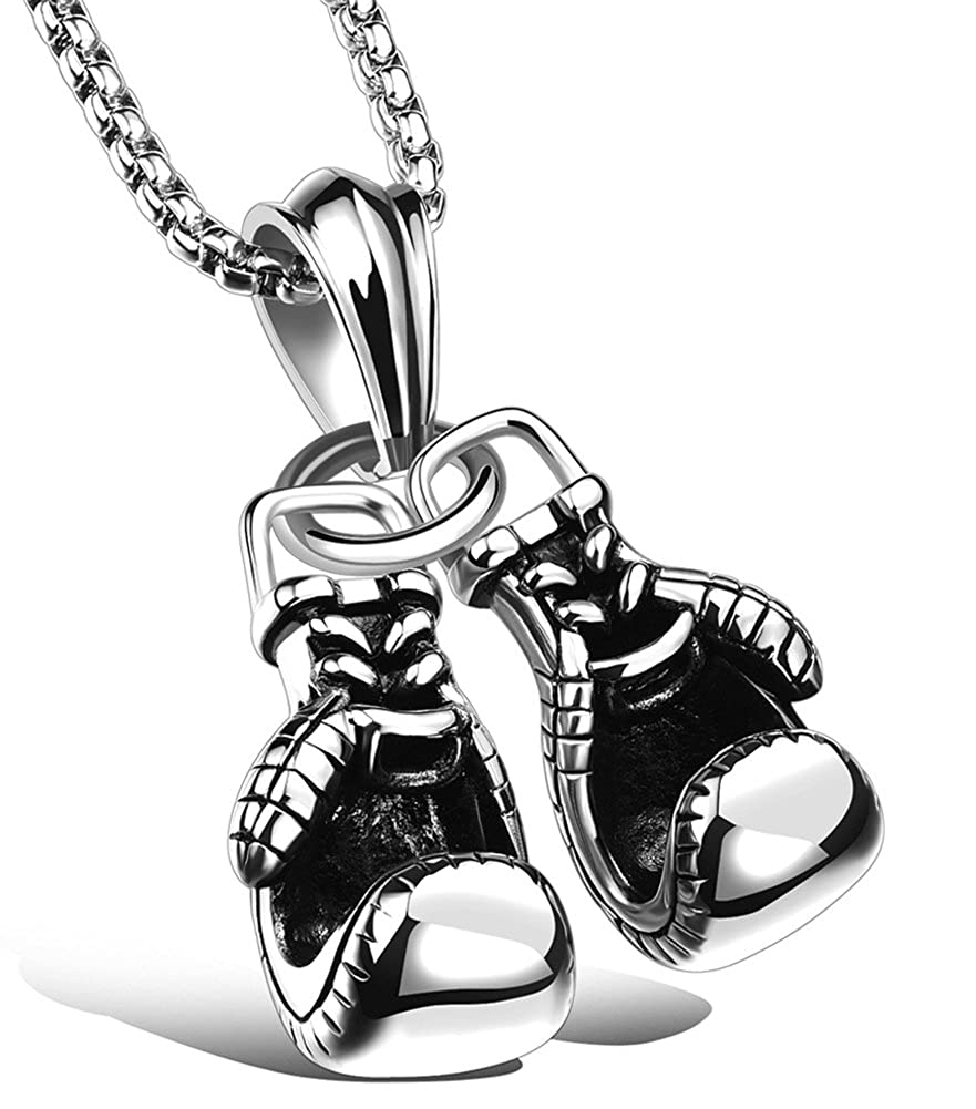 Hamoery Men Punk Stainless Steel Boxing Gloves Chain Pendant Necklace Pneck744-Black