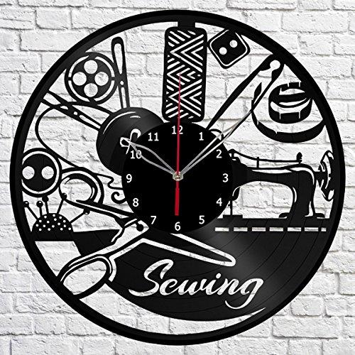 Sewing Vinyl Record Wall Clock Fan Art Handmade Decor Original Gift Unique Decorative Vinyl Clock 12