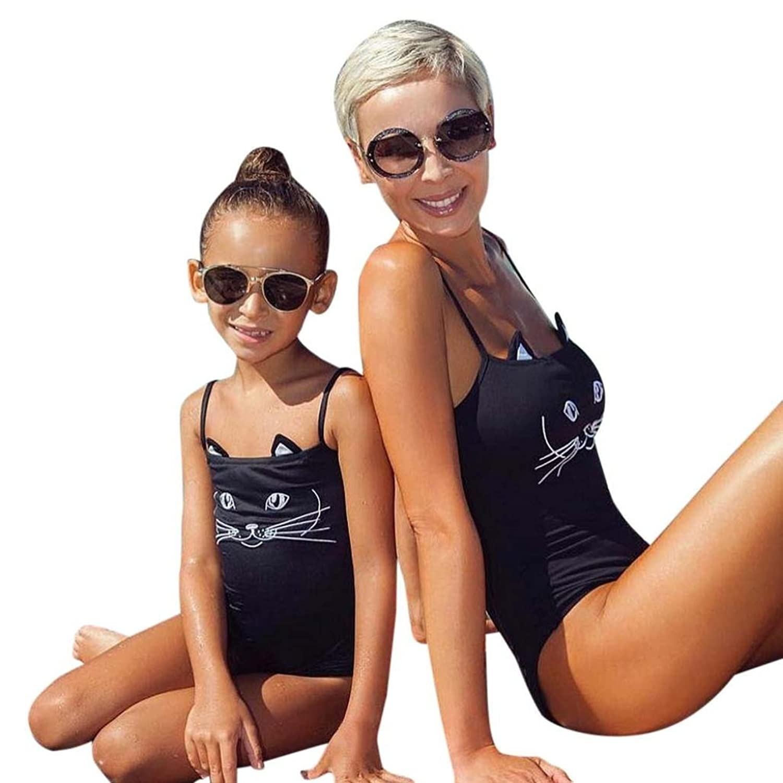 UMFun Cat Printed Bikini Parent-Child Set One-Pieces Jumpsuit Swimsuit Padded Bra Swimwear Beachwear
