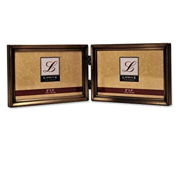 lawrence frames antique brass 4x6 hinged double horizontal picture frame bead border design