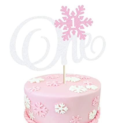 Admirable Glittery Pink Snowflake One Cake Topper Winter Onederland First Birthday Cards Printable Trancafe Filternl