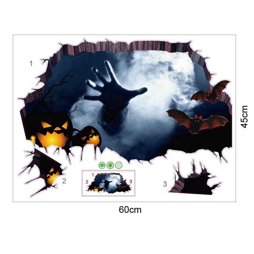 South Weekend 2018 3D Happy Halloween Household Room Floor Wall Sticker Mural Decor Decal Removable (Multicolor)
