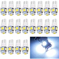 EverBright 20-Pack DC 24V White T10 194 168 2825 W5W 5050 5-SMD LED Bulb For Car Replacement Interior Lights Clearance…