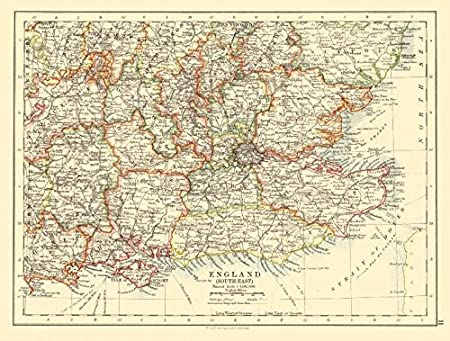 S E England Map.South East England Home Counties Thames Valley Estuary Johnston