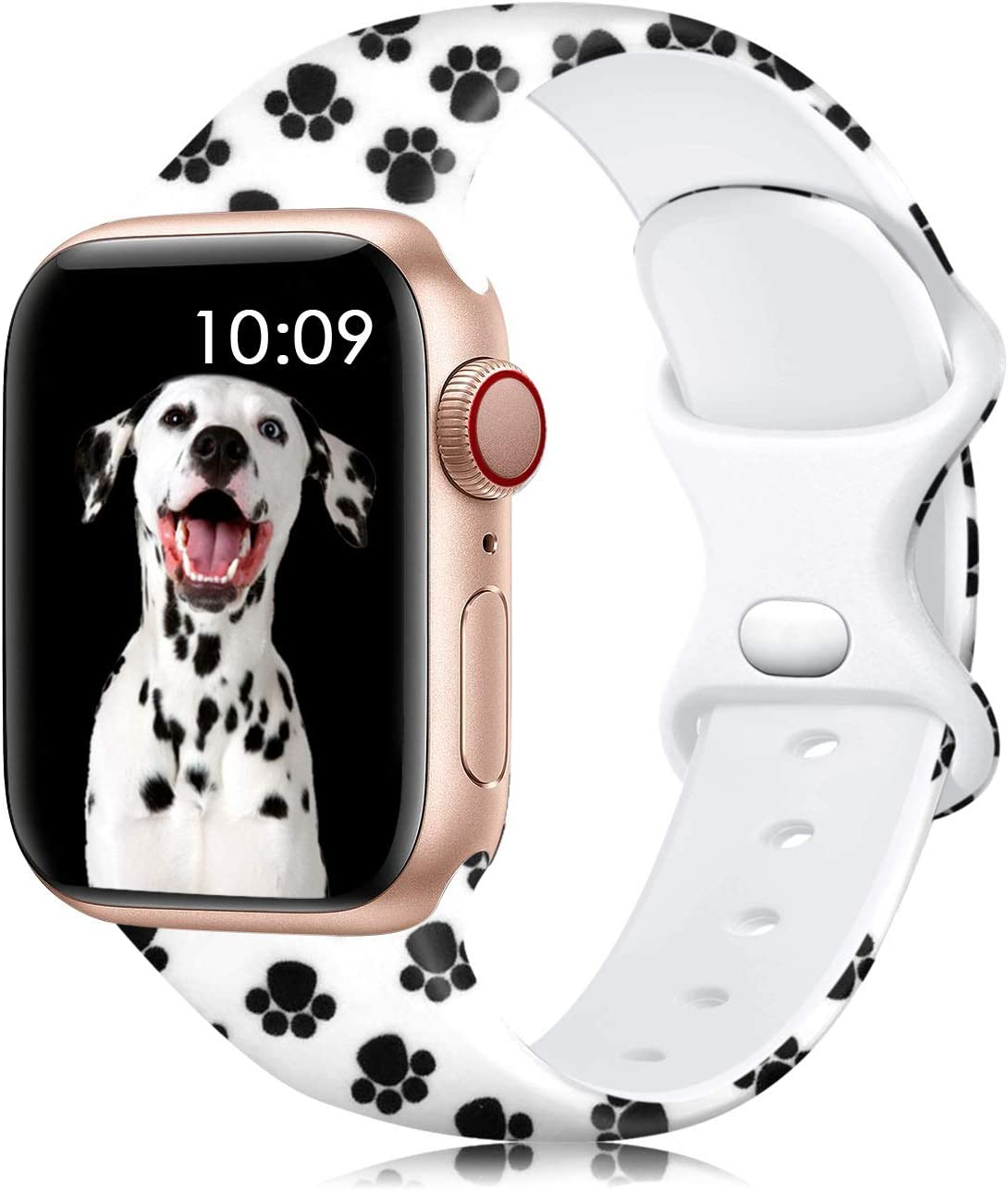 Lerobo Band Compatible with Apple Watch Band 40mm 38mm for Women Men, Fancy Cute Silicone Pattern Printed Replacement Band for iWatch SE Series 6 Series 5 Serise 4 Serise 3 2 1, Paw Print S/M