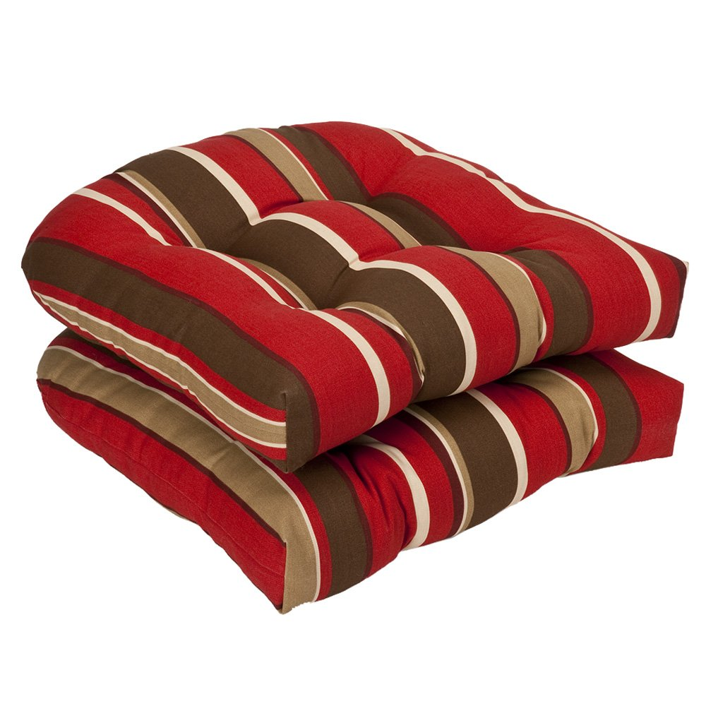 Pillow Perfect Indoor/Outdoor Striped Wicker Seat Cushions, 2 Pack, Red/Brown by Pillow Perfect