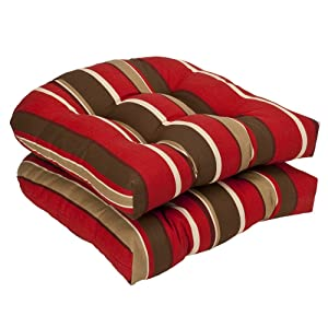 Pillow Perfect Indoor/Outdoor Striped Wicker Seat Cushions, 2 Pack, Red/Brown