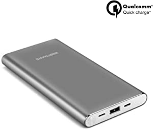High Capacity 10000mAh Quick Charge QC 3.0 Portable Charger Fast Speed Charging Dual Input Thin Power Bank Compatible For iPhone iPad Samsung Galaxy Mobile phone & Android Smartphone Device Space Grey