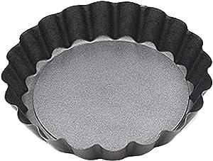 MZRI Baking Pans - Chrysanthemum Round Nonstick Cake Mould - Stainless Steel Pizza Pans - Bakeware Tool for Breadfruit Pie Breads - Detachable Bottom Design (Black-82 CM (Bottom DiaDeep))