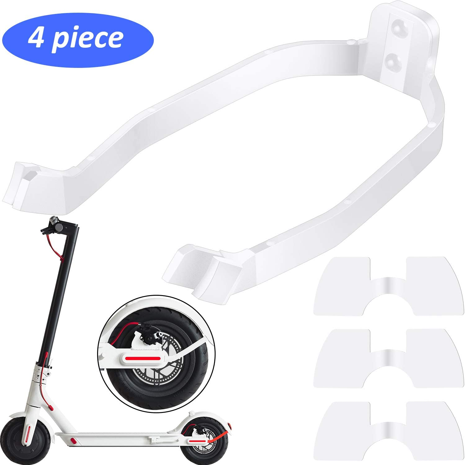 Rear Fender Bracket Mudguard Bracket and 3 Pieces Rubber Vibration Dampers for Xiaomi M365 Scooter Scooter Replacement Part Accessories 4 Pieces in Total
