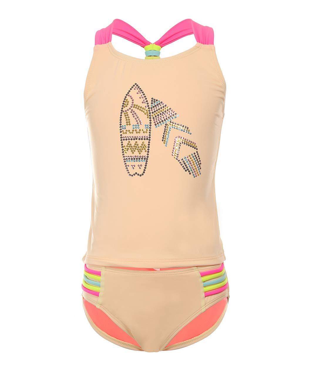 BELLOO Big Girls Two Pieces Swimsuits UPF 50+ Tankini Sets Bathing Suit Swimwear XS Light Yellow