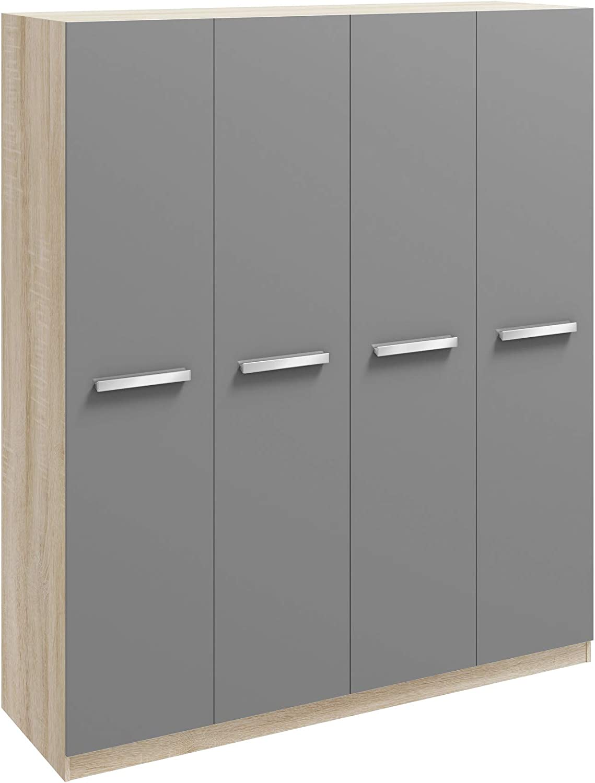 Wardrobes Bedside Drawers#2 Door Mirrored Robe Genoa Oak /& Grey High Gloss Bedroom Furniture Range