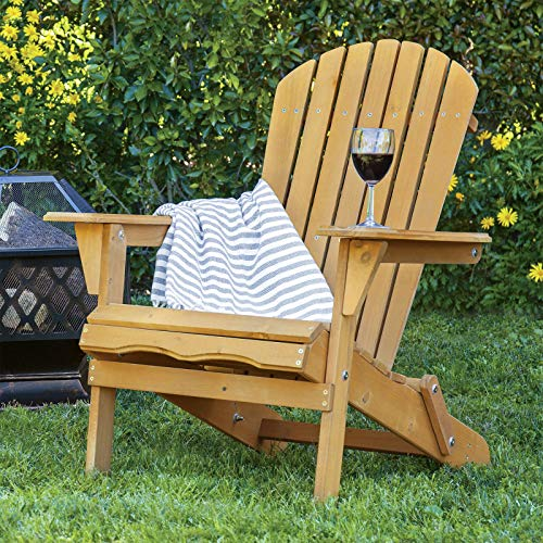 Style Adirondack Footrest (Alek...Shop Outdoor Relax Chair Comfortable Style Pull Out Accent Patio Furniture Foldable Adirondack Natural Finish Wood Lounge, Poolside, Beach, Garden)