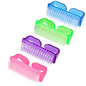 Handle Nail Brush,MORGLES 4pcs Handle Grip Nail Brush Hand Fingernail Brush Nail Hand Scrubbing Cleaning Brush for Toes and Nails Cleaner Pedicure Brushes for Men and Women (Multicolor)