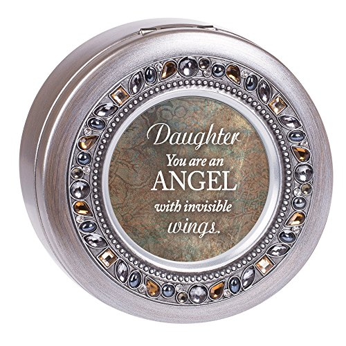 (Cottage Garden Daughter Angel Invisible Wings Brushed Pewter Jewelry Music Box Plays Amazing Grace)