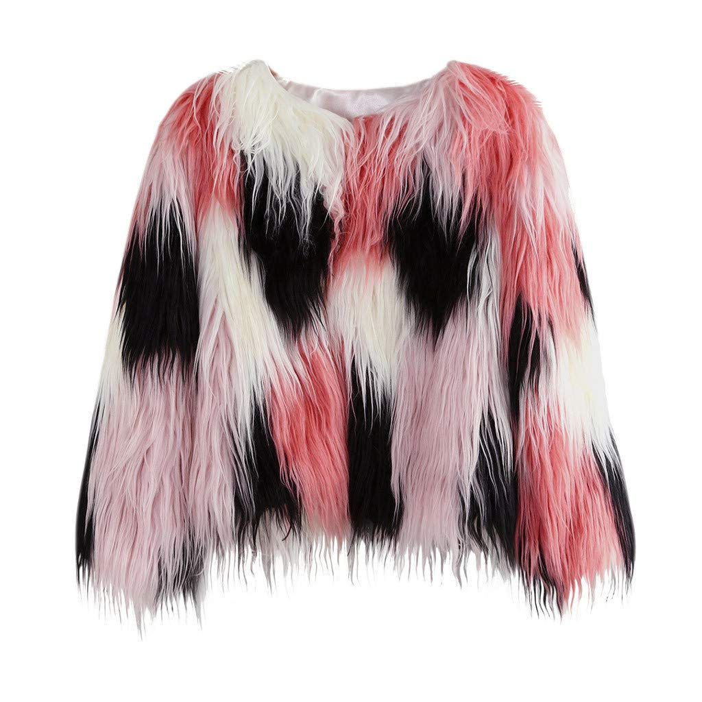 Tomppy Baby Girls Faux Fur Coat Long Sleeve Colorblock Winter Warm Shaggy Jacket Cardigan Kids Thick Outerwear Clothes