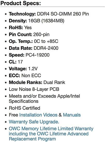 OWC2400DDR4S16G OWC 16GB 2400MHZ DDR4 SO-DIMM PC4-19200 Actualizaci/ón de Memoria para iMac 2017 de 27 Pulgadas con Pantalla Retina 5K,