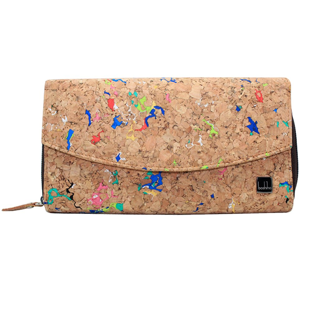 Boshiho Natural Cork Wallet - Large Capacity Smart Phone Long Clutch Purse for Women Vegan Gift (Cork 1)