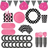 Ladybug 50s Theme Party Supplies and Decorations Set - Pink, Black & White Polka Dot (Serves 16)