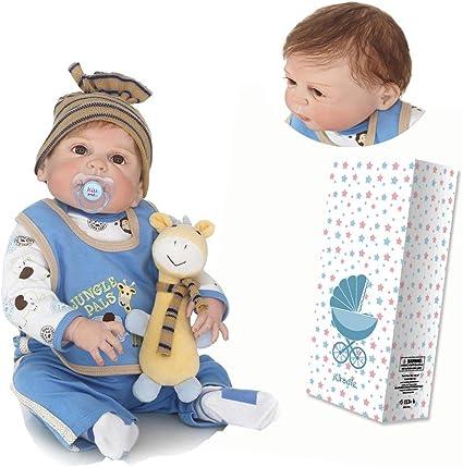 23/'/' Full Vinyl Silicone Reborn Baby Boy Dolls Kits Handmade Newborn Toys Gifts