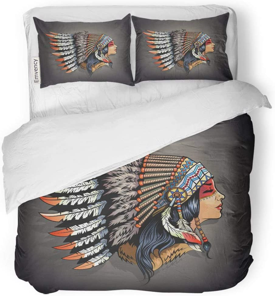 "Tarolo Bedding Duvet Cover Set Woman American Indian Girl in National Headdress Native Cherokee Face America 3 Piece Twin 68""x90"" Quilt Cover with Zipper Closure"