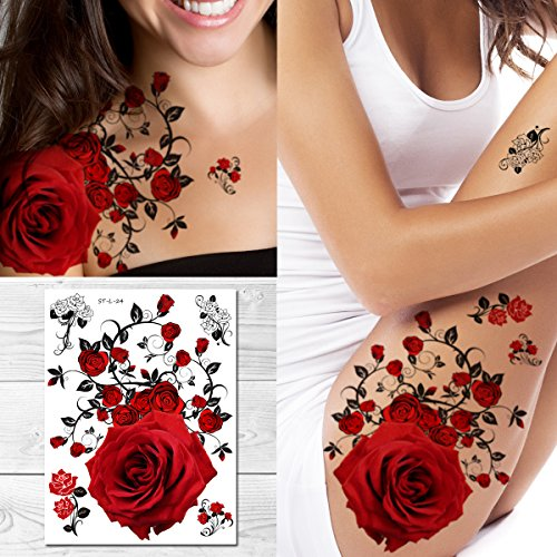 Supperb Temporary Tattoos - Red Roses (8 x 6 inches) -