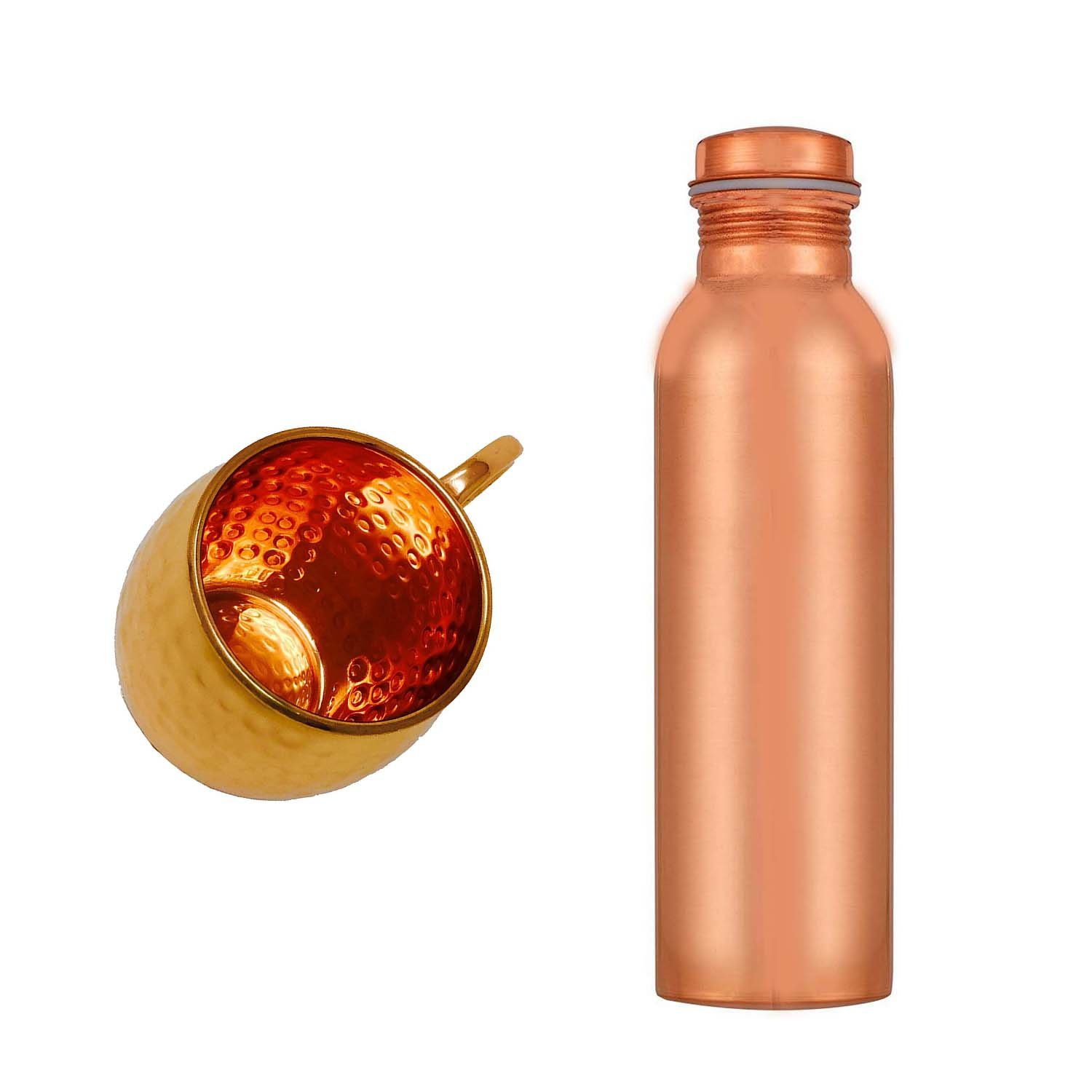 Copper Splash 30oz/900mll Pure Copper Water Bottle and 16oz hammered Moscow Mule Mug Bundle CopperSplash CM10