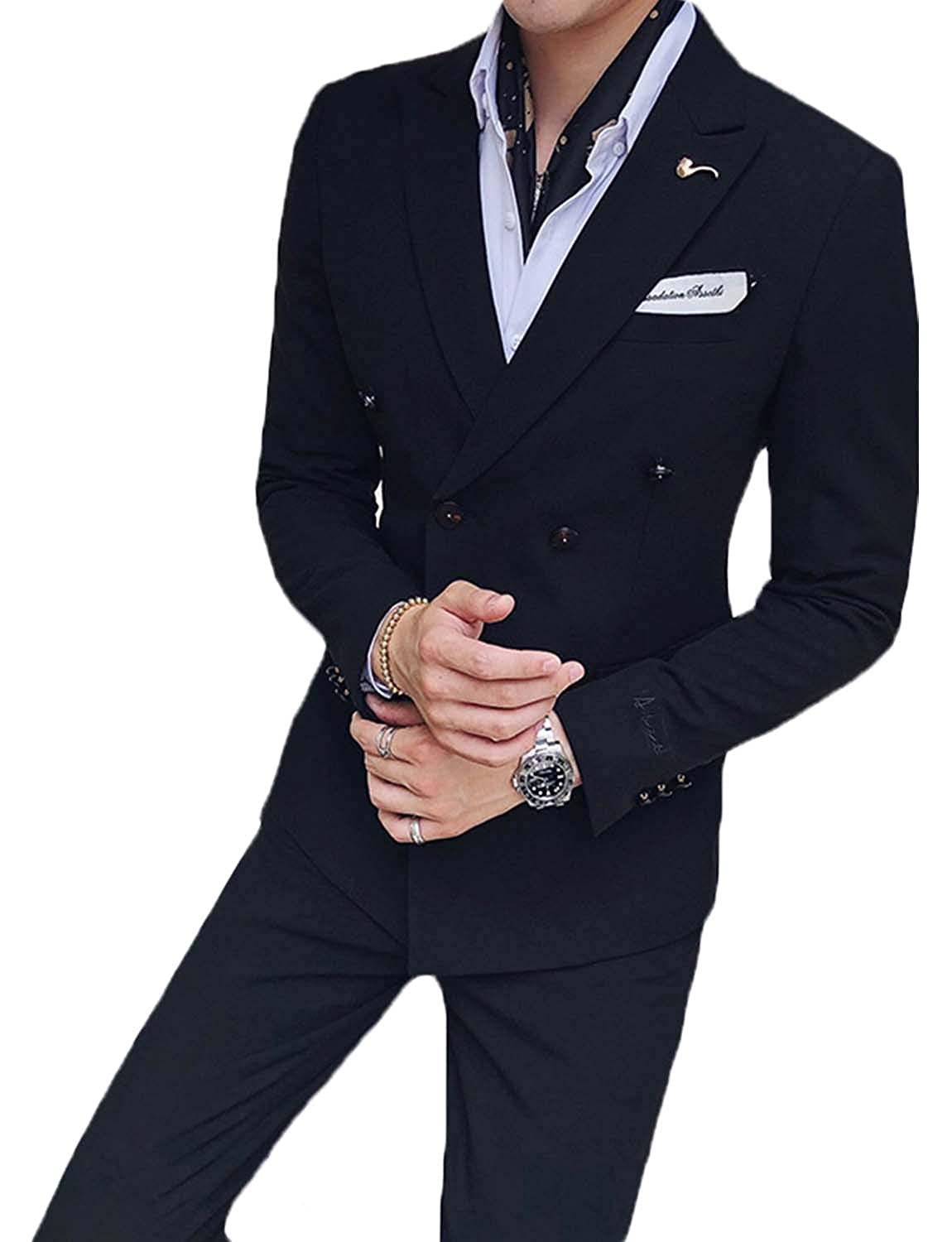 UMISS Mens 2-Piece Double-Breasted Slim Fit Solid Color Jacket Wedding Formal Suit
