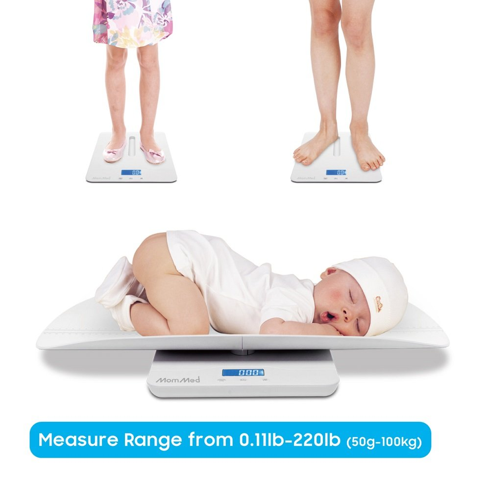Baby Scale, Multi-Function Toddler Scale, Baby Scale Digital, Pet Scale, Infant Scale with Hold Function, Blue Backlight, Weight(Max: 220 Pound) and Height Track (Max: 24inch) by MOMMED