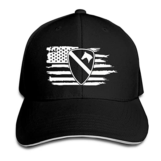 4204cd088aa85 American Flag US Army 1st Cavalry Division First Team Trucker Hat Baseball  Cap Adjustable Sandwich Hat at Amazon Men s Clothing store