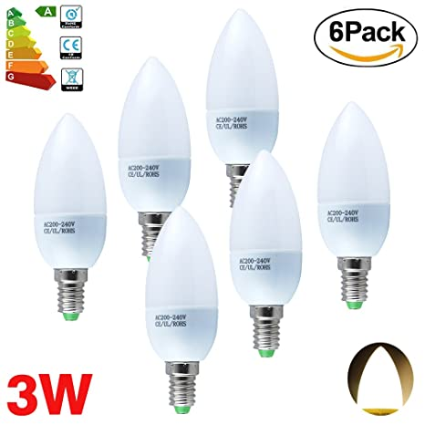 ALBRIGHT (6 Pack) E14 Bombillas LED Vela 3W, LED luz de vela Lámpara