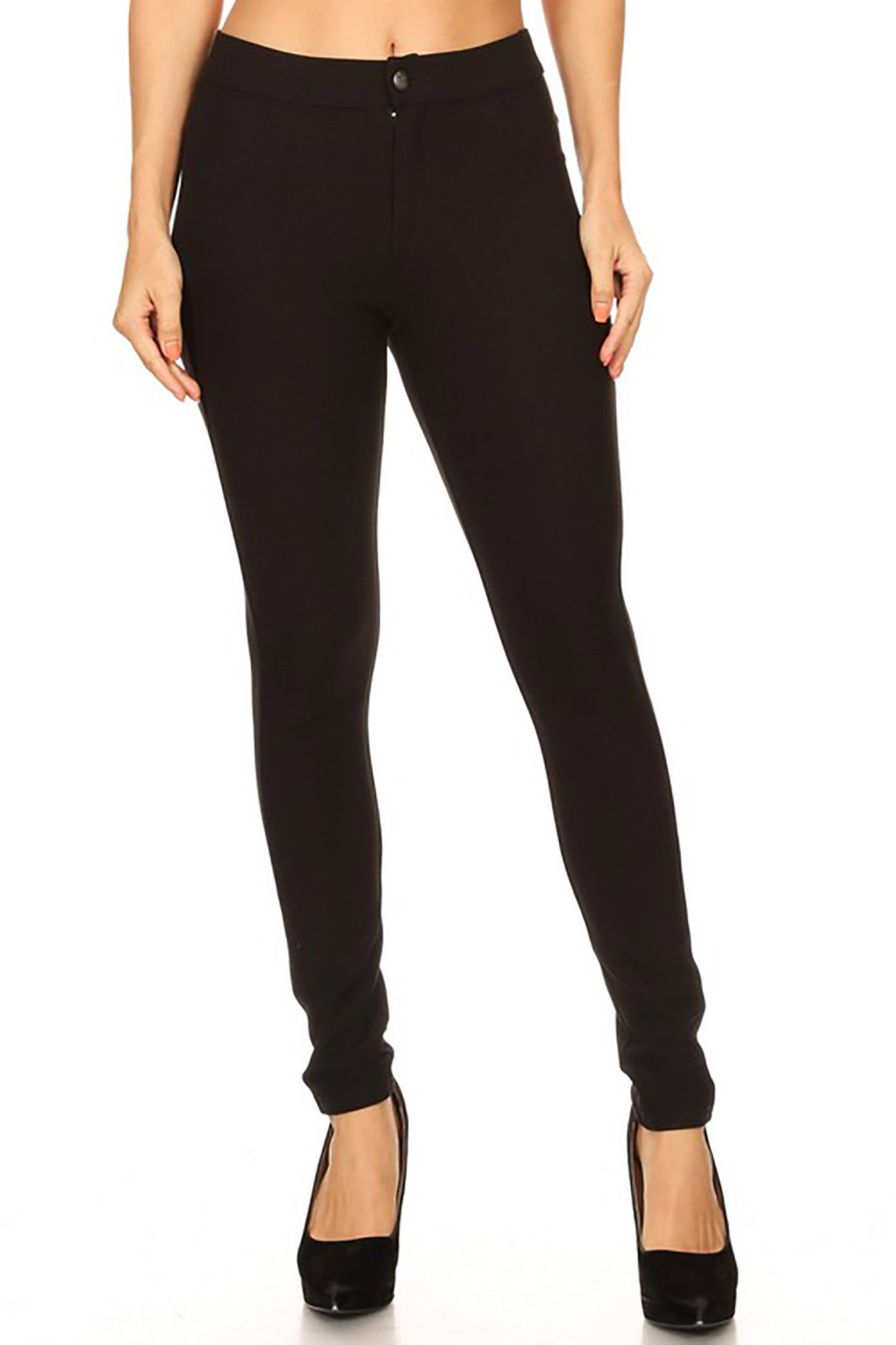 Women Pull-Up Style Casual Pants Jean Look Jeggings Slim Fit Wide Elastic Waistband and Zipper Spandex Leggings S-3XL (M, GT001-BLK)