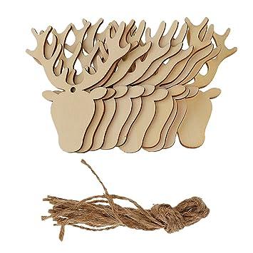 Baoblaze Weihnachten Geschenkanhänger Holz Mit Schnüren