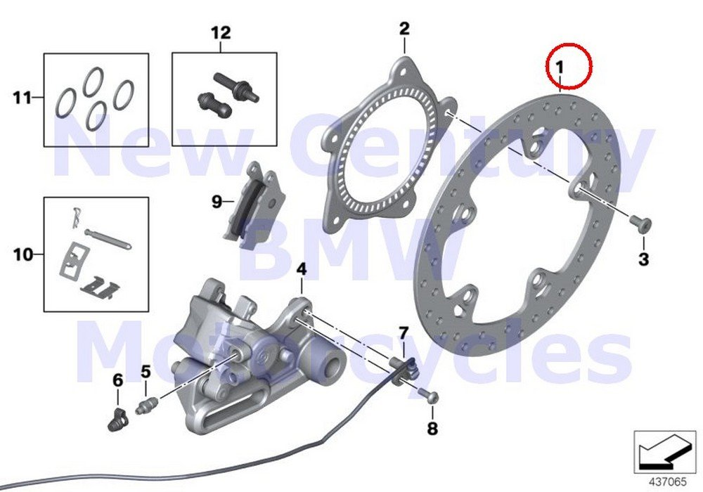 BMW Genuine Motorcycle Rear Wheel Brake Rear Brake Disc R nine T R1200GS R1200GS Adventure HP2 Enduro HP2 Megamoto R1200RT R900RT R1200R R1200ST HP2 Sport R1200S K1200S K1300S K1200R K1200R Sport K13 by BMW