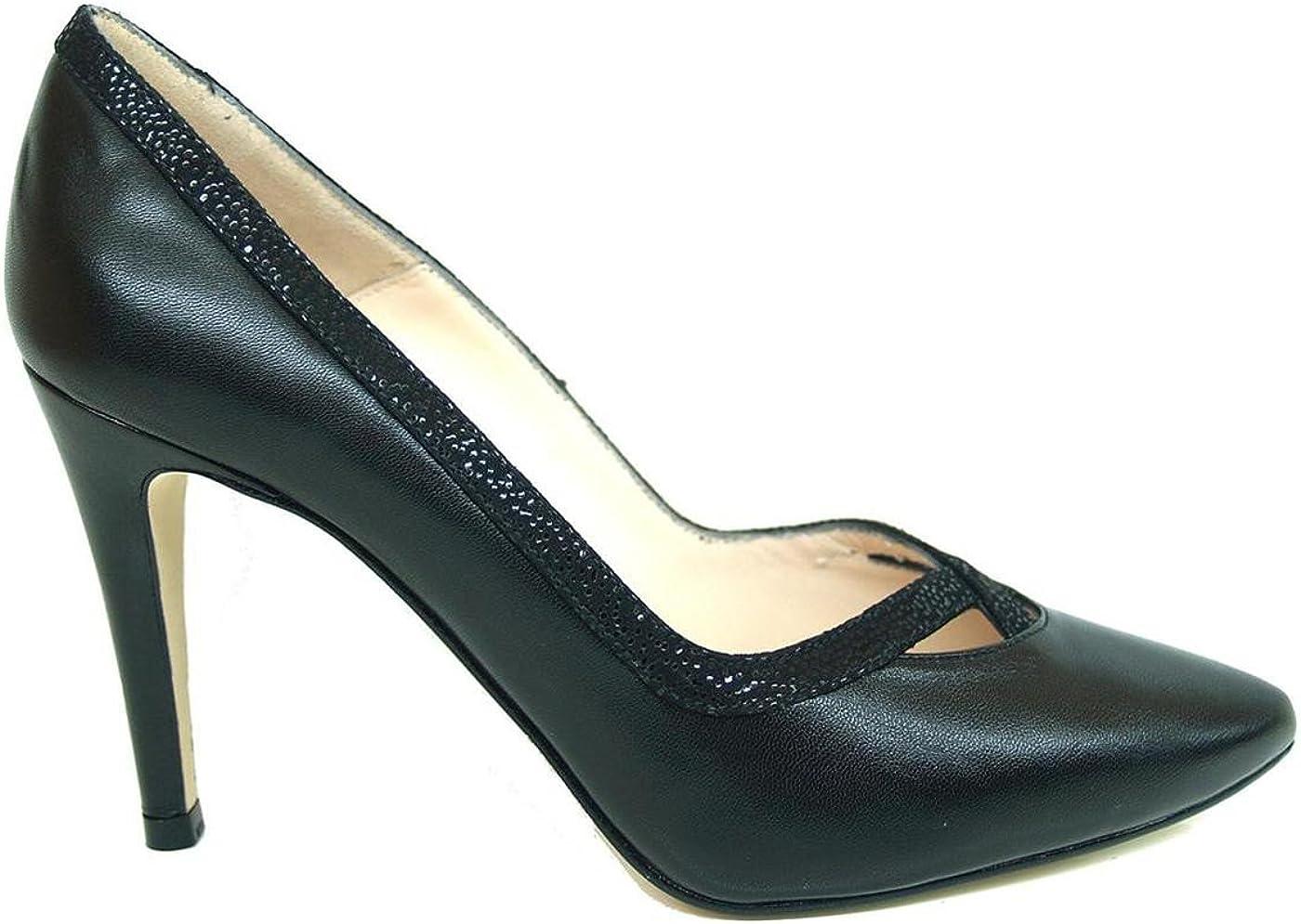 TALLA 40 EU. Gennia RICRUBLACK. - Zapatos de Piel para Mujer con Tacon Alto de Aguja 9 cm y Punta Fina Cerrada
