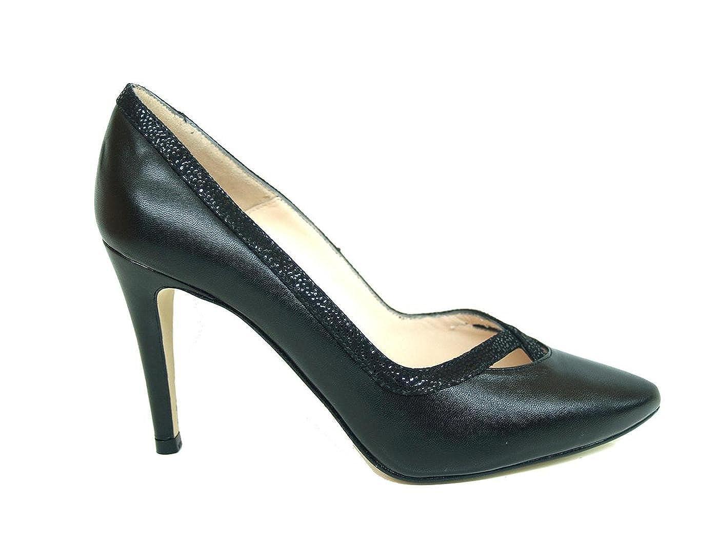 TALLA 36 EU. Gennia RICRUBLACK. - Zapatos de Piel para Mujer con Tacon Alto de Aguja 9 cm y Punta Fina Cerrada