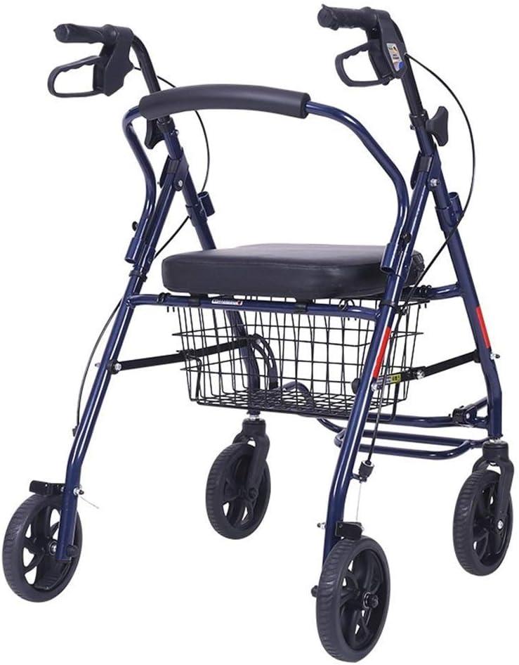 SMX Andador con Ruedas con Asiento: Altura Ajustable con Asiento y Ruedas, admite hasta 230 Libras, Silla de Transporte Plegable, Andador con Ruedas de pie
