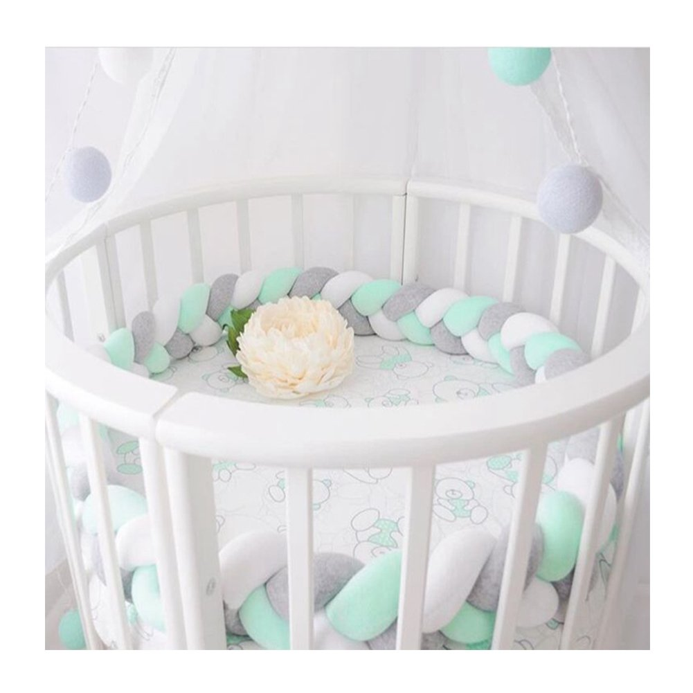 LOAOL Baby Crib Bumper Knotted Braided Plush Nursery Cradle Decor Newborn Gift Pillow Cushion Junior Bed Sleep Bumper (2 Meters, White-Gray-Green)