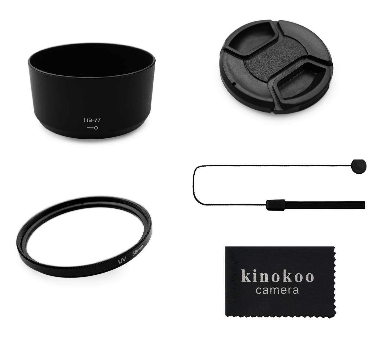 guinzaglio per obiettivo D copriobiettivo da 58mm paraluce reversibile da 58mm kinokoo Kit di accessori per obiettivi ottici con filtro UV da 58mm per Nikon D5600//D5300//D3400//D3500 kit paraluce